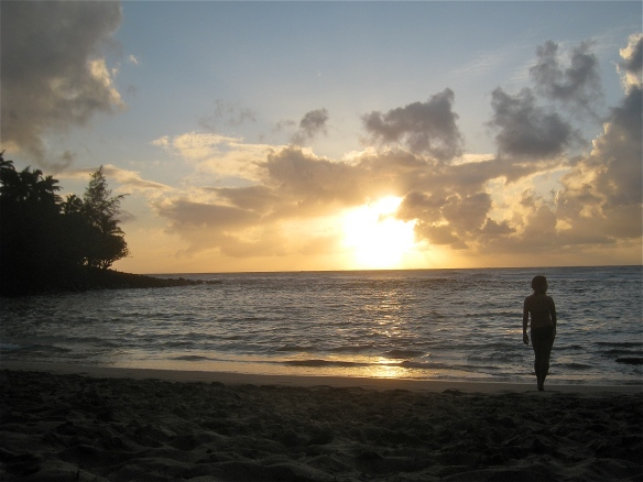 a rewarding sunset at Ke'e Beach